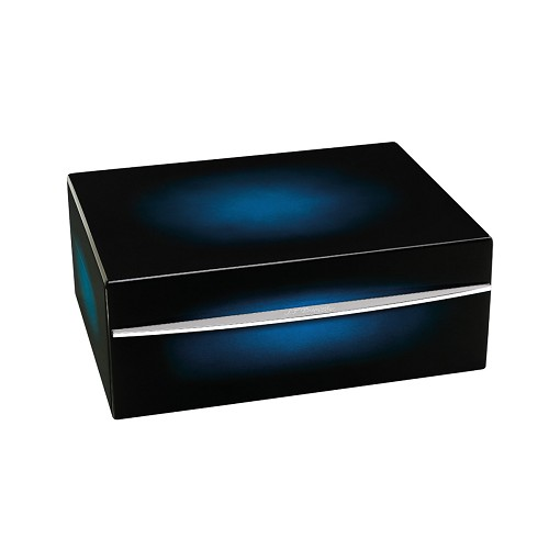 ST Dupont cigar humidor handmade in cedarwood with sunburst blue lacquer and palladium finishes.
