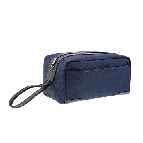 S.T. Dupont Defi Millenium Travel Kit Bag handmade with soft dark blue nylon and black cowhide leather.