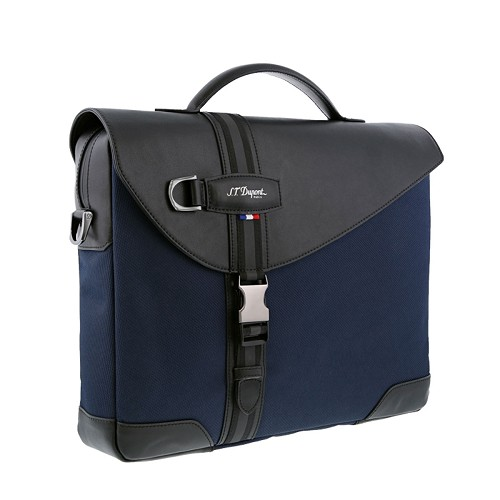 S.T. Dupont Defi Millenium Small Laptop & Document Holder Bag handmade with soft dark blue nylon and black cowhide leather.