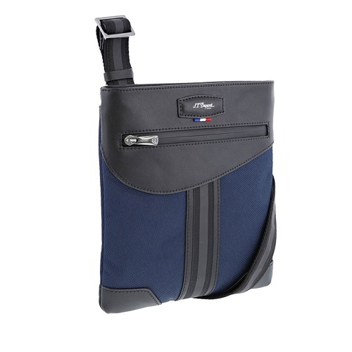 S.T. Dupont Defi Millenium Small Zippered Shoulder Bag handmade with soft dark blue nylon and black cowhide leather.