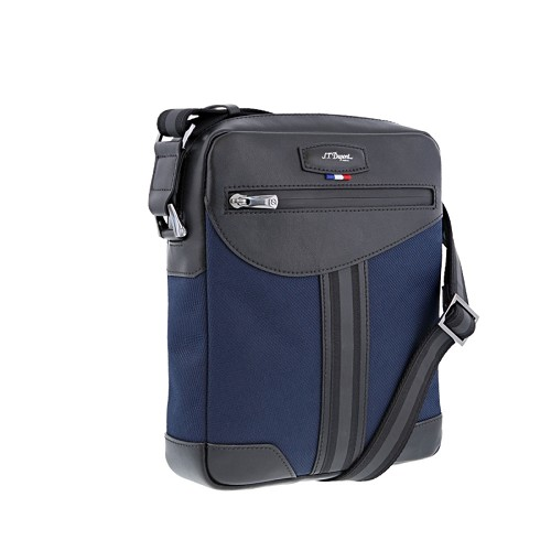 S.T. Dupont Defi Millenium Medium Zippered Shoulder Bag handmade with soft dark blue nylon and black cowhide leather.