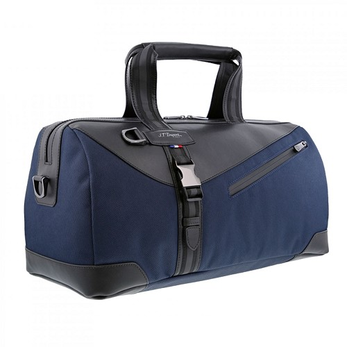 S.T. Dupont Defi Millenium Small Cosy Travel Bag handmade with soft dark blue nylon and black cowhide leather.