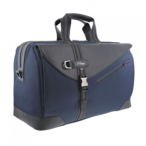 S.T. Dupont Defi Millenium 48hr Duffle Travel Bag handmade with soft dark blue nylon and black cowhide leather.