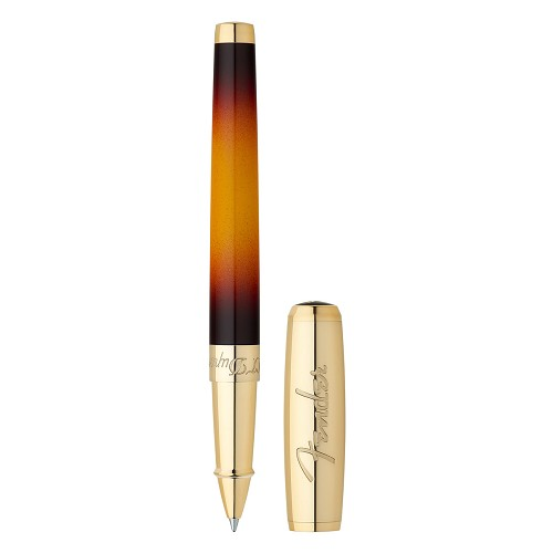 ST Dupont Fender Line D Rollerball Pen in sunburst natural lacquer and yellow gold finish.