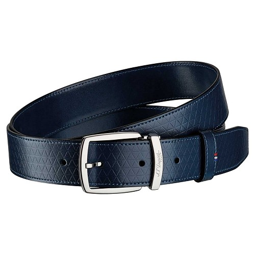 ST Dupont Fire Head Line D Night Blue Leather Belt