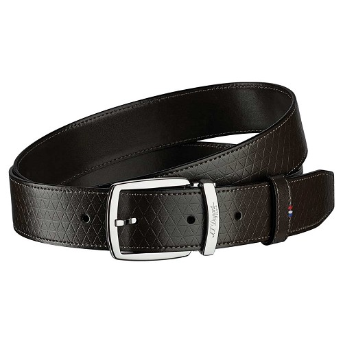 Fire Head Line D Ebony Brown Leather Belt with triangular pattern.