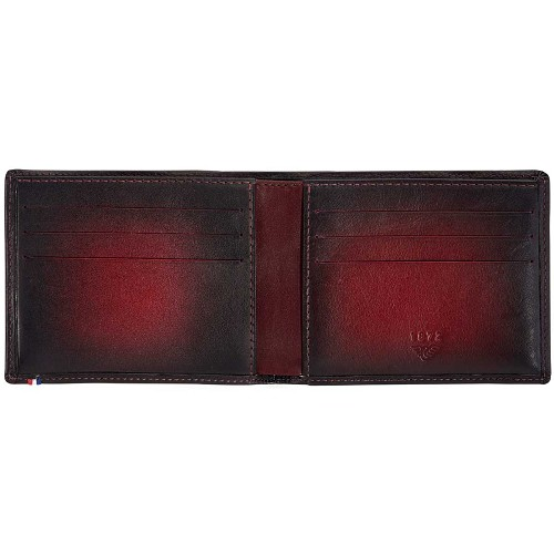 S.T. Dupont Atelier 6 cc mens billfold in Cherry Red aged calfskin.