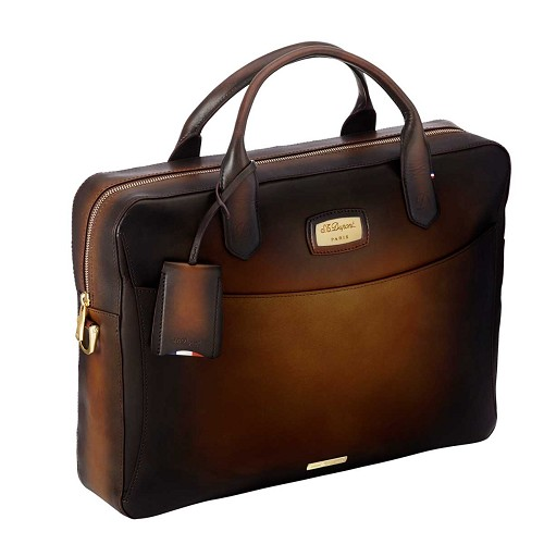 Atelier document briefcase handmade in brown aged vintage leather.