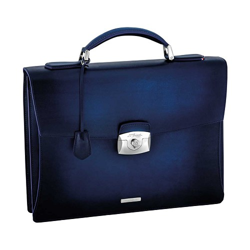 Atelier single gusset briefcase handmade in midnight blue aged leather.