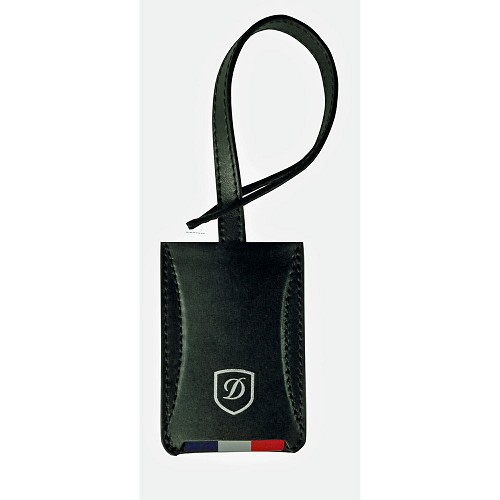 S.T. Dupont Defi Luggage Tag in Black Carbon Leather.