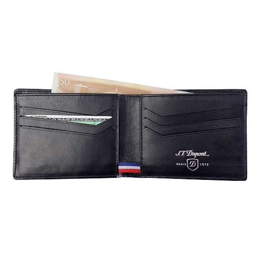S.T. Dupont Defi 6 Credit Card Wallet handmade in Black Carbon leather.