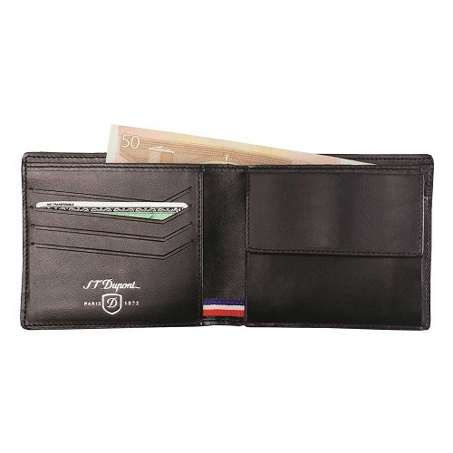 S.T. Dupont Defi 4 Credit Card Coin Purse Wallet handmade in Black Carbon leather.