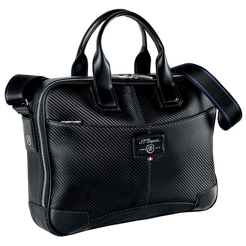 S.T. Dupont Defi Small Laptop & Document Holder Bag in Black Carbon Leather.