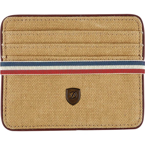 ST Dupont Iconic Card Holder Wallet with beige oiled cotton embellished with the French tri-color.