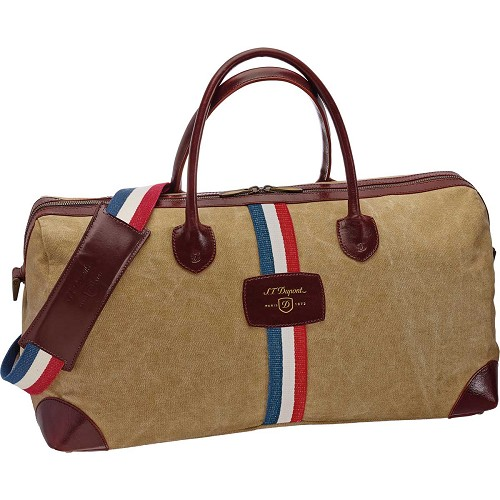 ST Dupont Iconic Cosy Travel Bag in Beige/Cognac includes matching shoulder strap.