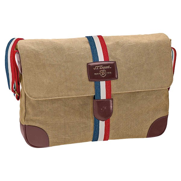 ST Dupont Iconic Messenger Bag - Beige Canvas / Cognac Leather