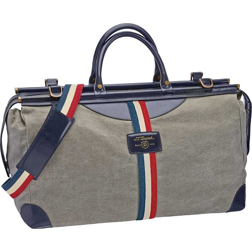 ST Dupont Iconic Bogie Duffle Bag in Gray/Blue includes matching shoulder strap.