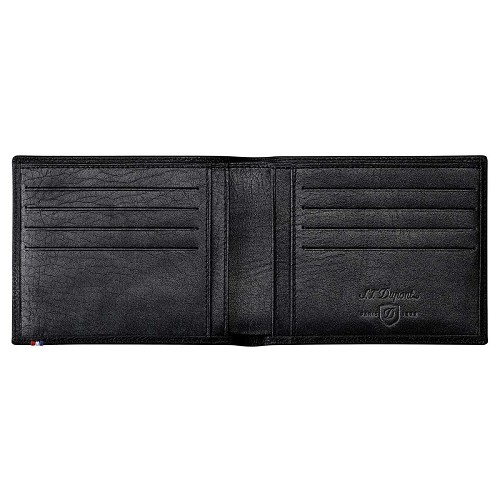 ST Dupont Line D Soft Diamond Grained eight credit card biflold handmade in Black leather.