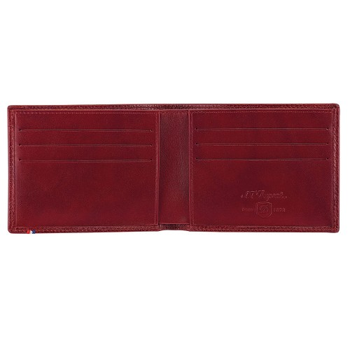 ST Dupont Line D Soft Diamond Grained six credit card biflold handmade in Cherry Red leather.