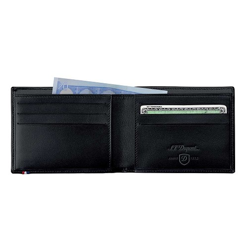 ST Dupont Line D Soft Diamond men's biflold wallet handmade with Black leather finish.