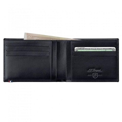 ST Dupont Line D mens biflold wallet, space for 6 credit cards and id papers, handmade with Black leather finish.