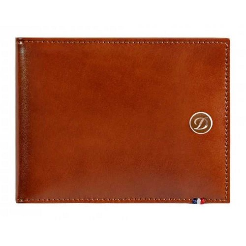 ST Dupont Line D mens biflold wallet, space for 6 credit cards and id papers, handmade with Brown leather finish.