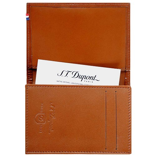 ST Dupont Line D Business Card Holder. Handmade with Brown leather finish.