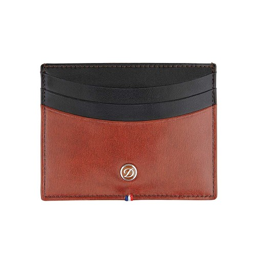 ST Dupont Line D Credit Card Holder handmade in Brown and Black smooth leather.
