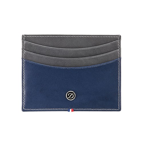 ST Dupont Line D Credit Card Holder handmade in Grey and Blue smooth leather.