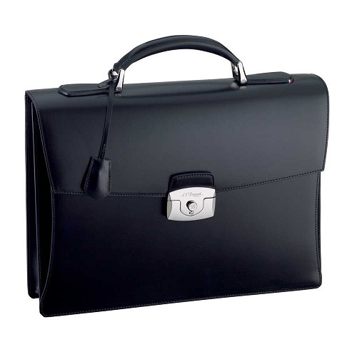 ST Dupont One Gusset Briefcase handmade with Black leather finish.
