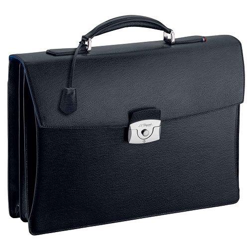 ST Dupont Two Gusset Briefcase handmade with Black Contraste leather finish.