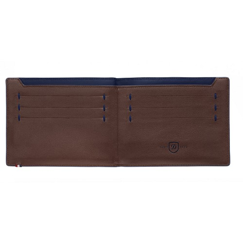 ST Dupont Line D Slim Brown-Blue Leather Bifold holds 7 credit cards and cash.