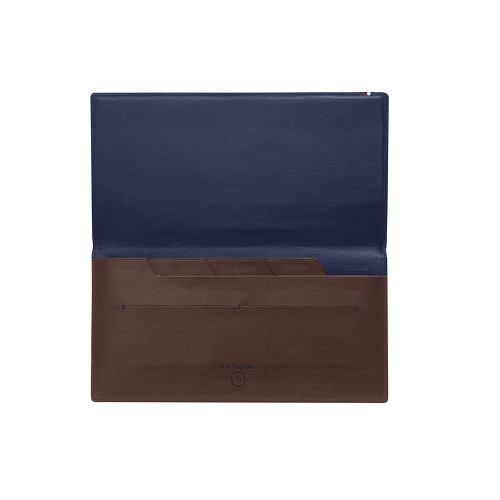 ST Dupont Line D Slim Brown-Blue Travel Organizer holds passport, travel documents, tickets & credit cards.