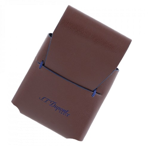 ST Dupont Line D Slim Leather Line D Lighter Case handmade with brown exterior and blue interior.