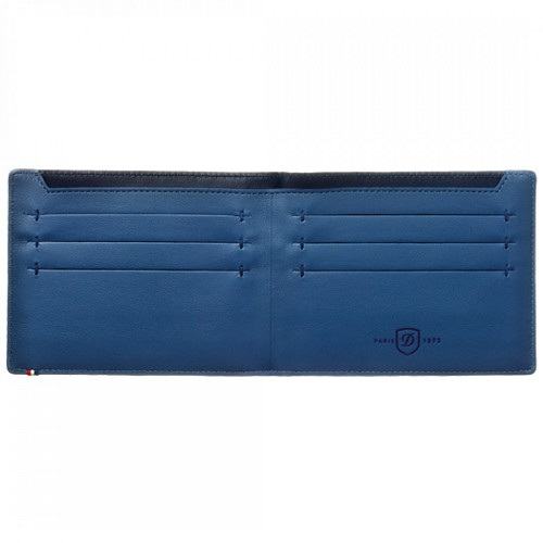 ST Dupont Line D Slim Blue Leather Bifold holds 7 credit cards and cash.