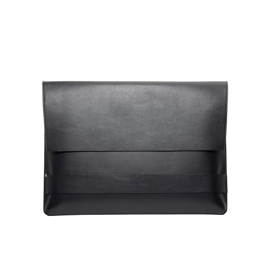 ST Dupont Line D Slim Document Pouch handmade in leather with Black exterior and Blue interior.