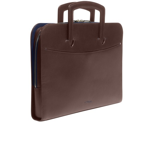ST Dupont Line D Slim Document Holder handmade in leather with Brown and Blue interior.