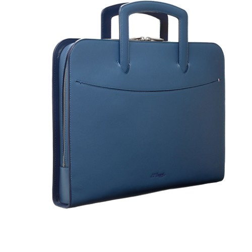 ST Dupont Line D Slim Document Holder handmade in leather with Blue exterior and interior.