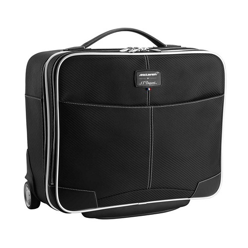 Limited edition ST Dupont McLaren Wheeled Laptop Bag is used by Jenson Button and Fernando Alonso.
