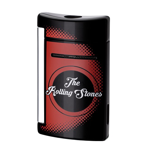 Rolling Stones Limited Edition Black MiniJet Lighter with logo, chrome finish.