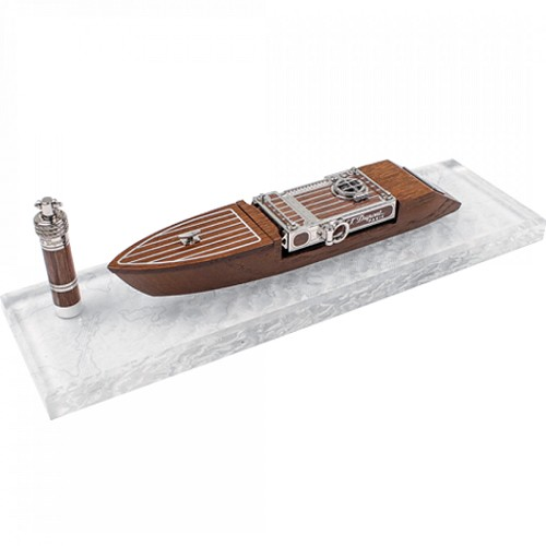 S.T. Dupont Seven Seas Smoking Kit designed as a motor yacht with Ligne 2 Lighter, cigar punch and oak wood base.