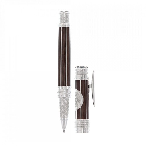 S.T. Dupont Seven Seas Rollerball Pen handmade in wood effect natural lacquer and palladium detailing.