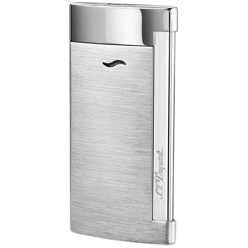 ST Dupont Slim 7 Lighter with Gray Brushed Chrome finish.