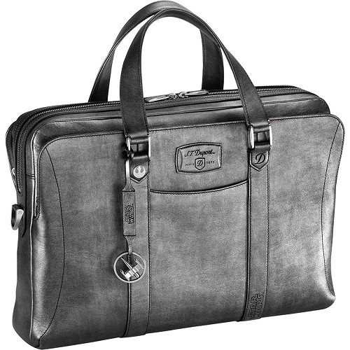 ST Dupont Star Wars silver laptop bag/document briefcase is handmade in Line D soft diamond leather.