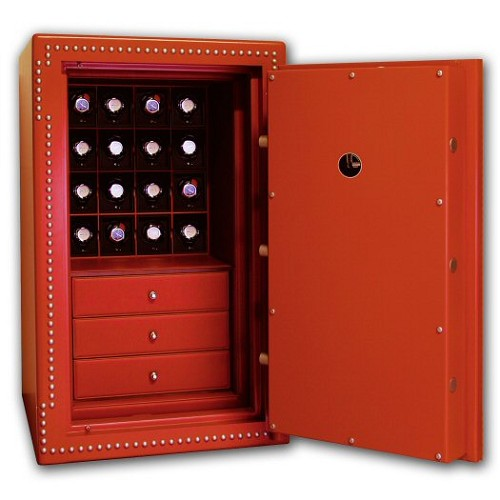 Underwood Safes 16 module watch winder safe.  This is a custom item. Contact us for your specifications if you desire a different internal configuration or leather.