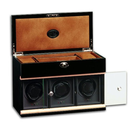 Underwood Black Lacquer Watch Winder - Three-Module with Jewelry Case