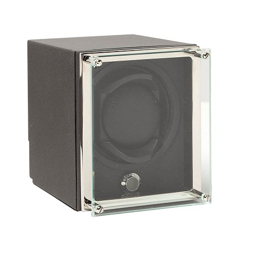 Basic single watch winder with Luxury Glass Fram. Available in three colors: Grey (standard replacement module), Blue, and Brown.