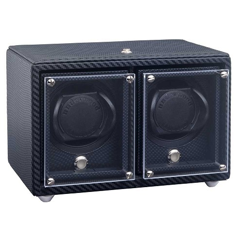 Underwood Carbon Fiber Watch Winder - Double Module features a signature woven carbon fiber texture.