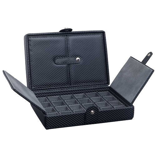 Underwood Carbon Fiber Cufflink Box - 24 Sets feature microfiber lined interiors.