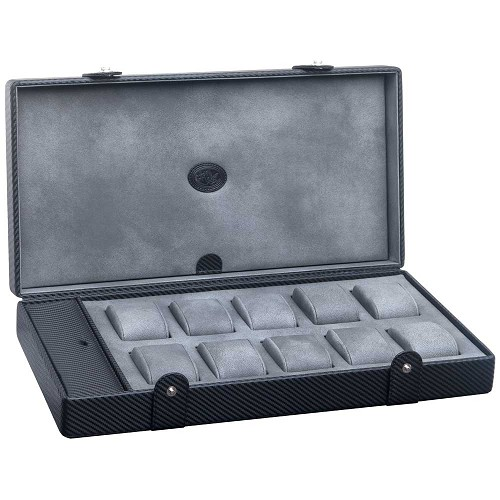 Underwood Carbon Fiber Watch Case - Ten Large Watches features a signature woven carbon fiber texture.
